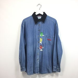 Tops - Vintage M&M's L Large Jean Shirt Embroidered